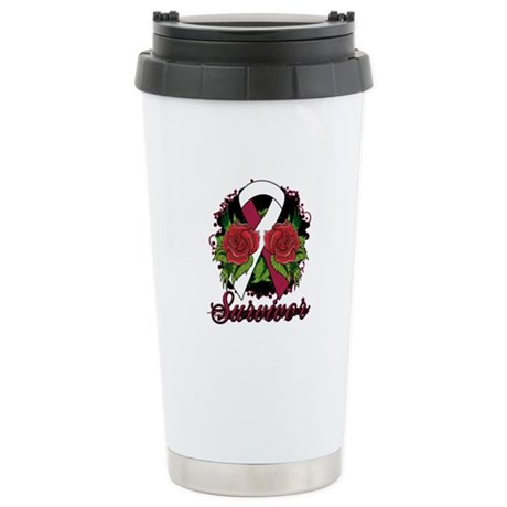 Throat Cancer Survivor Tattoo Ceramic Travel Mug