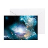 Primordial quasar, artwork - Greeting Cards (Pk of