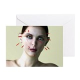 Facial acupuncture, artwork - Greeting Cards (Pk o