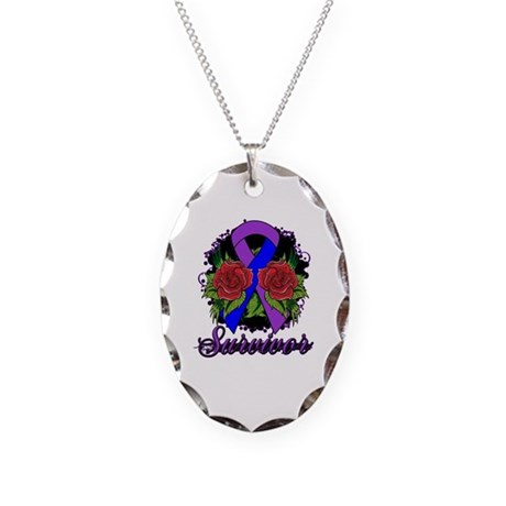 Rheumatoid Arthritis Survivor Tattoo Necklace Oval