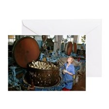 Sterilising cans at a fish cannery - Greeting Card
