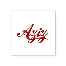 "Aziz name Square Sticker 3"" x 3"""