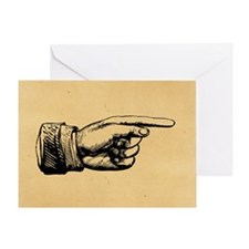 Old Fashioned Pointing Finger Greeting Card