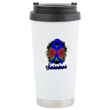 Rectal Cancer Survivor Tattoo Ceramic Travel Mug