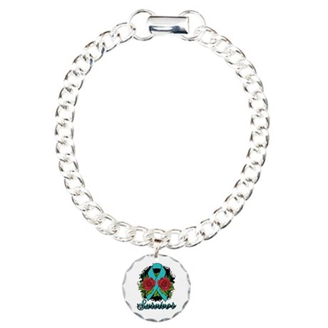 PCOS Survivor Tattoo Charm Bracelet, One Charm