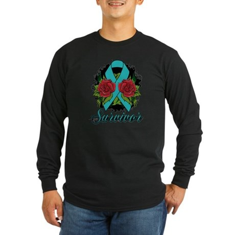 Ovarian Cancer Survivor Tattoo Long Sleeve Dark T-