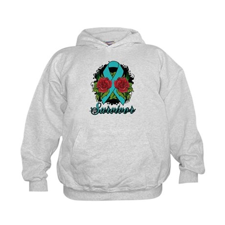 Ovarian Cancer Survivor Tattoo Kids Hoodie