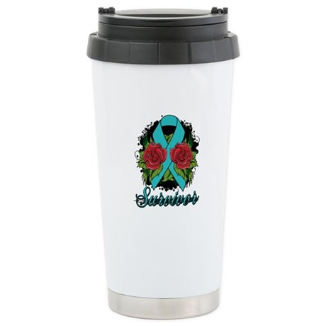 Ovarian Cancer Survivor Tattoo Ceramic Travel Mug