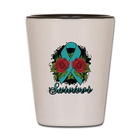 Ovarian Cancer Survivor Tattoo Shot Glass