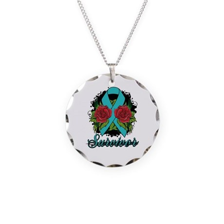Ovarian Cancer Survivor Tattoo Necklace Circle Cha