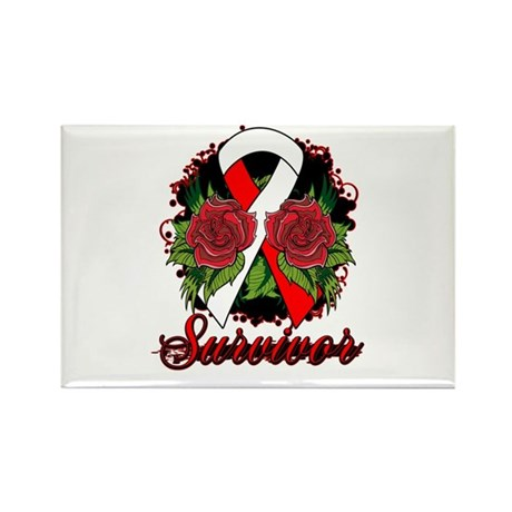 Oral Cancer Survivor Tattoo Rectangle Magnet