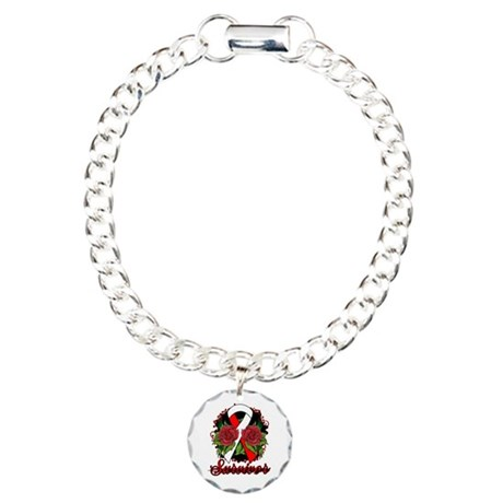 Oral Cancer Survivor Tattoo Charm Bracelet, One Ch
