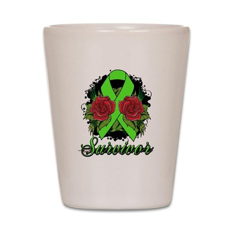 Non-Hodgkins Lymphoma Survivor Tattoo Shot Glass