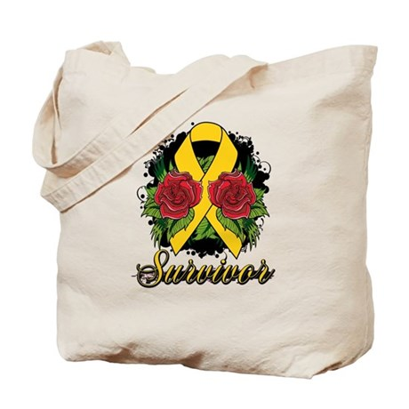 Neuroblastoma Survivor Rose Tattoo Tote Bag
