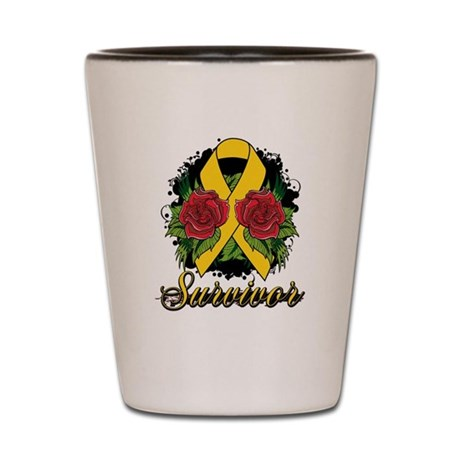 Neuroblastoma Survivor Rose Tattoo Shot Glass
