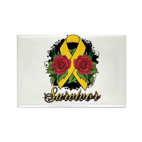 Neuroblastoma Survivor Rose Tattoo Rectangle Magne