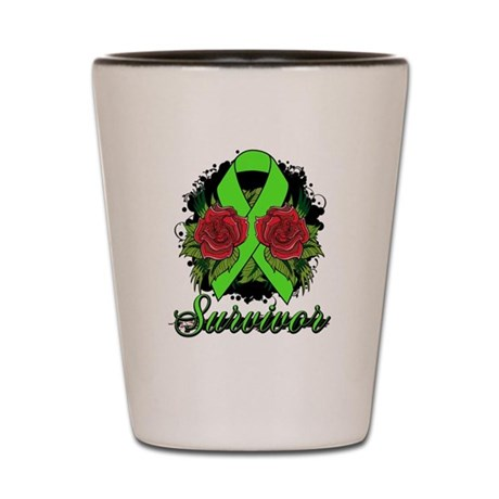 Muscular Dystrophy Survivor Rose Tattoo Shot Glass