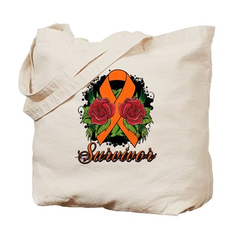 Multiple Sclerosis Survivor Rose Tattoo Tote Bag