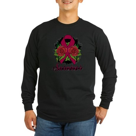 Multiple Myeloma Survivor Rose Tattoo Long Sleeve