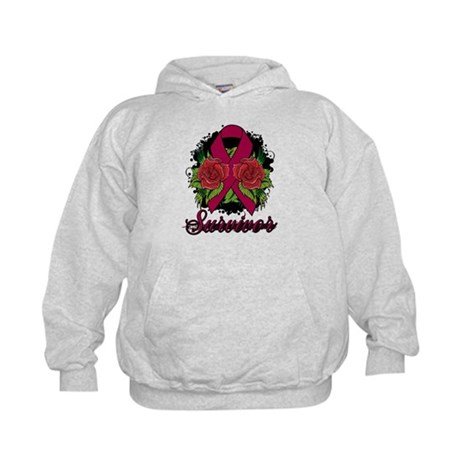 Multiple Myeloma Survivor Rose Tattoo Kids Hoodie