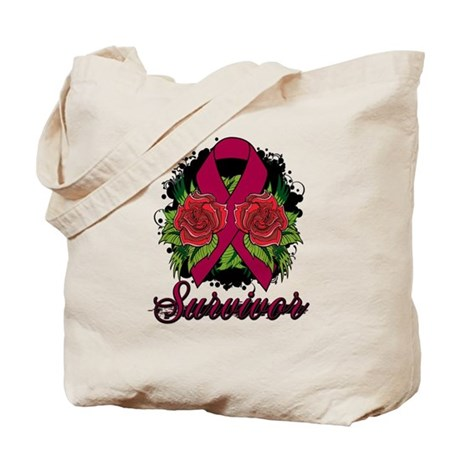 Multiple Myeloma Survivor Rose Tattoo Tote Bag