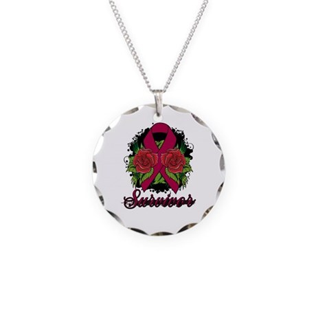 Multiple Myeloma Survivor Rose Tattoo Necklace Cir