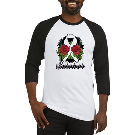 Mesothelioma Survivor Rose Tattoo Baseball Jersey
