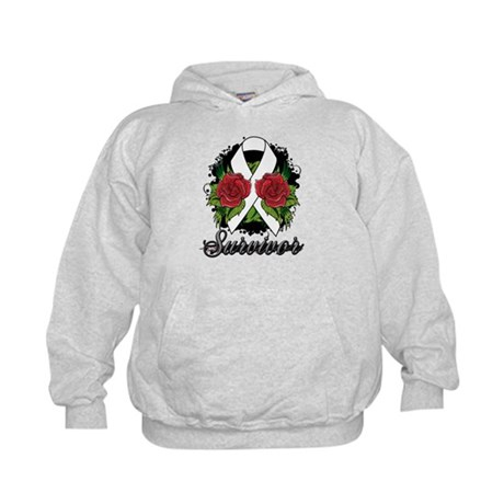 Mesothelioma Survivor Rose Tattoo Kids Hoodie