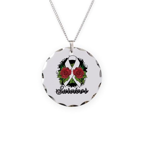 Mesothelioma Survivor Rose Tattoo Necklace Circle