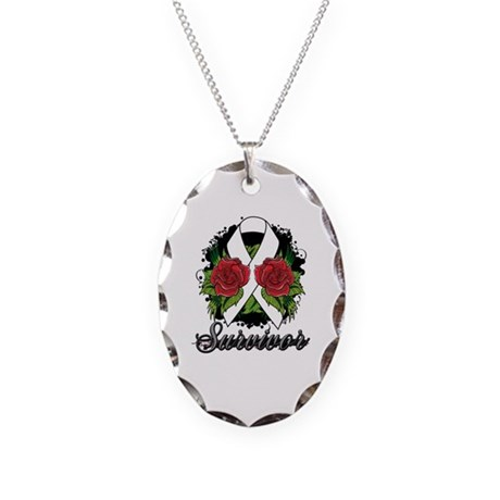 Mesothelioma Survivor Rose Tattoo Necklace Oval Ch