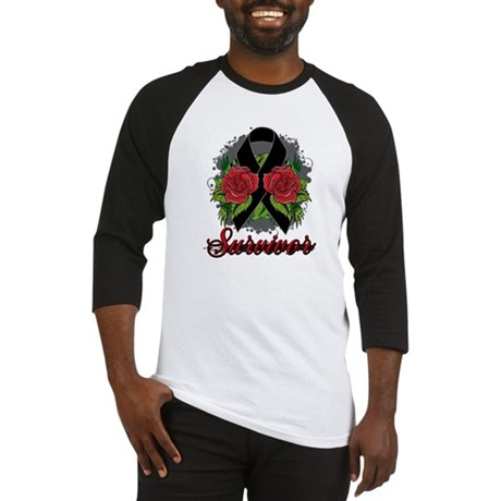 Melanoma Survivor Rose Tattoo Baseball Jersey