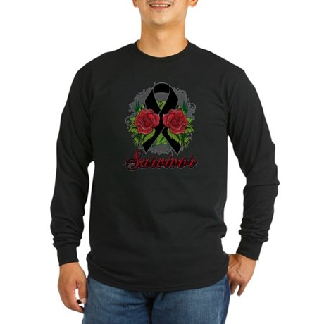 Melanoma Survivor Rose Tattoo Long Sleeve Dark T-S