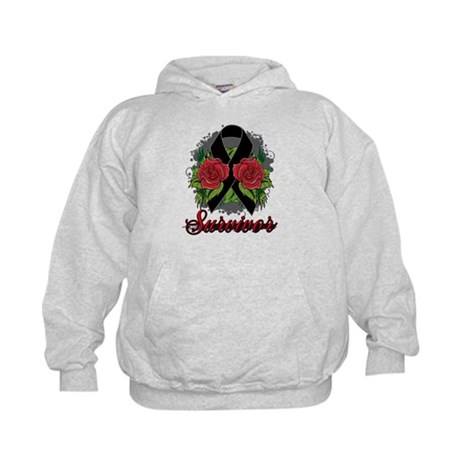 Melanoma Survivor Rose Tattoo Kids Hoodie