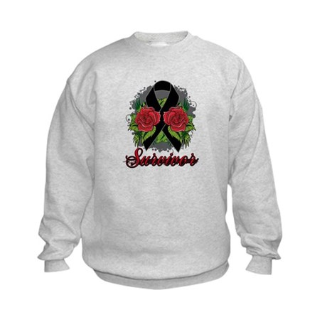 Melanoma Survivor Rose Tattoo Kids Sweatshirt
