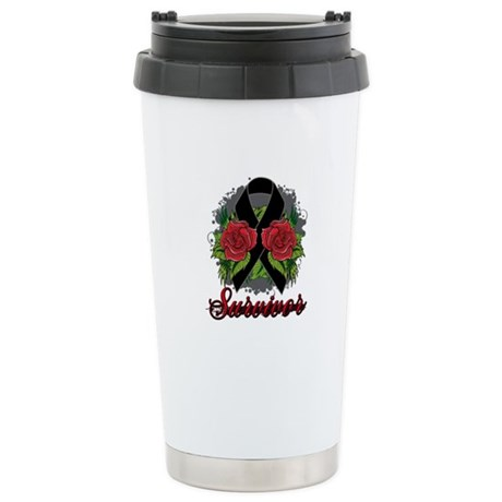 Melanoma Survivor Rose Tattoo Ceramic Travel Mug