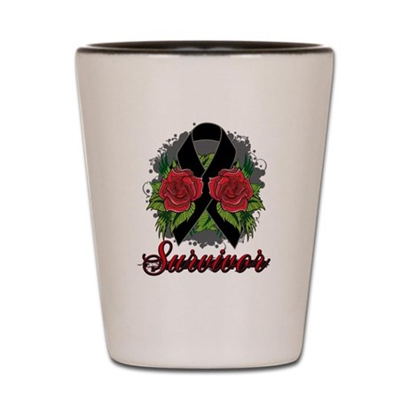 Melanoma Survivor Rose Tattoo Shot Glass