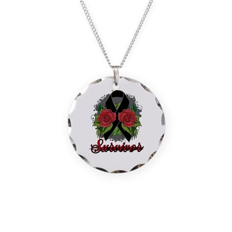 Melanoma Survivor Rose Tattoo Necklace Circle Char