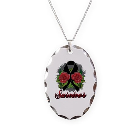 Melanoma Survivor Rose Tattoo Necklace Oval Charm