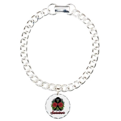 Melanoma Survivor Rose Tattoo Charm Bracelet, One