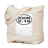 John 3:16 Christian European Oval Tote Bag