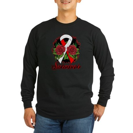 MDS Survivor Rose Tattoo Long Sleeve Dark T-Shirt