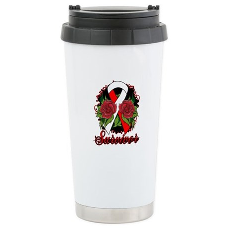 MDS Survivor Rose Tattoo Ceramic Travel Mug