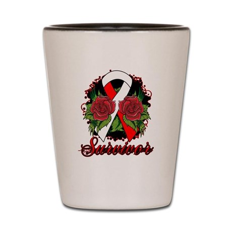 MDS Survivor Rose Tattoo Shot Glass