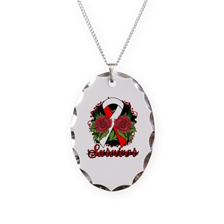 MDS Survivor Rose Tattoo Necklace Oval Charm