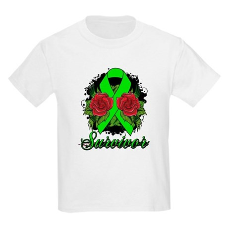 Lymphoma Survivor Rose Tattoo Kids Light T-Shirt