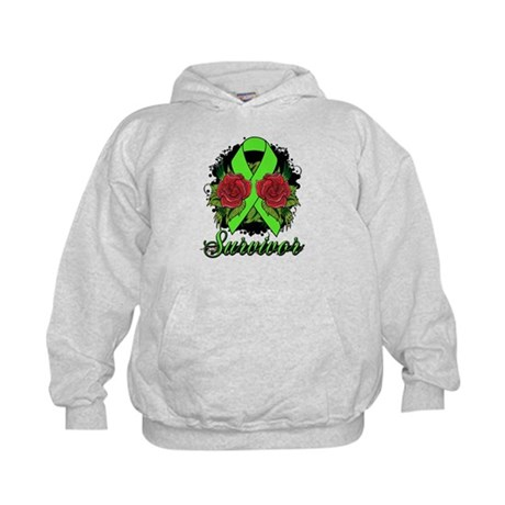 Lymphoma Survivor Rose Tattoo Kids Hoodie