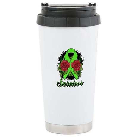 Lymphoma Survivor Rose Tattoo Ceramic Travel Mug