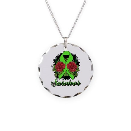 Lymphoma Survivor Rose Tattoo Necklace Circle Char