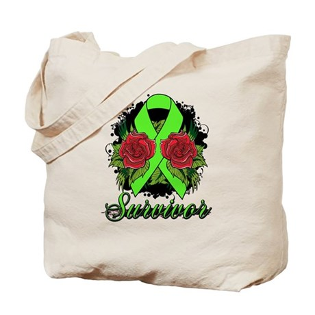 Lyme Disease Survivor Rose Tattoo Tote Bag