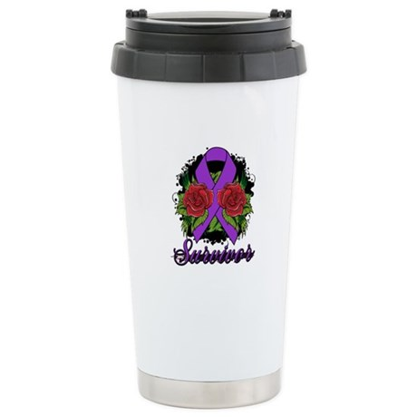 Lupus Survivor Rose Tattoo Ceramic Travel Mug